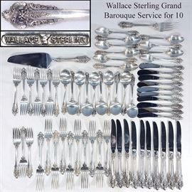 Wallace Sterling Silver Grand Baroque Service for 10