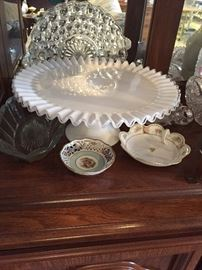 Fluted Fenton Ruffle Glass cake plate with miscellaneous Depression glass and China