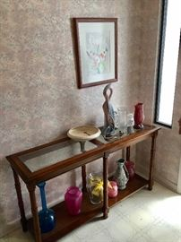 Foyer/Console display table with beveled glass inserts