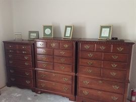 3 Colonial Style Broyhill chests of drawers