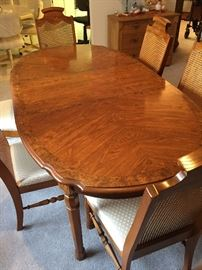 MCM Broyhill dining table and chairs, leaf.  Pads.