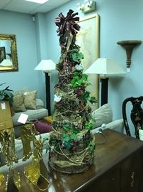 Lighted Decorated Grapevine 3' Tree