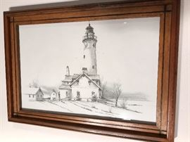Racine Lighthouse picture signed by the artist