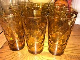 Vintage amber drink ware