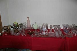 Glass candy dishes, serving dishes, etc.