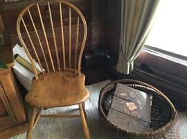 Primitive Windsor chair with gathering basket