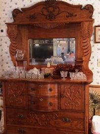 Ornate Antique Oak Buffet