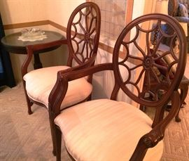 "Pair of ""Spider Web"" Back Chairs.  Small Round Glass Top Table (one of a pair)"