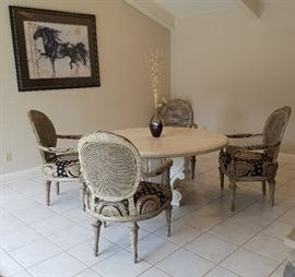 Marble dining table & 4 beautiful chairs from Goodfellows in Dallas