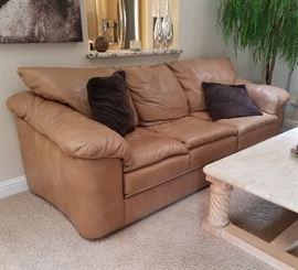 Caramel leather sofa