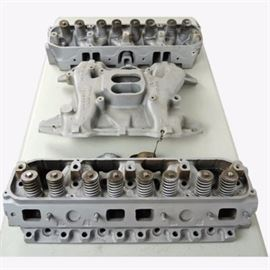 1971 Chrysler Dodge Iron Cylinder Heads and Four Barrel Intake Manifold: A 1971 Chrysler Dodge Iron Cylinder Heads and Four Barrel Intake Manifold set. The set features two cast iron cylinder heads – 3462346-1786 and 3462346-436; a four barrel intake manifold – 3614014; and a choke and choke delete.