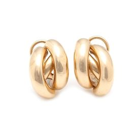 14K Yellow Gold Half Hoop Earrings: A pair of 14K yellow gold half hoop earrings.
