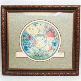 """Limited Edition Reproduction Print After Marc Chagall """"Paris Opera Ceiling"""": A limited edition reproduction print after Marc Chagall's Paris Opera Ceiling. The piece resembles a rotunda ceiling depicting various works by Chagall including Romeo and Juliet. Each depiction is labeled below the image with small text. This work is numbered 326 out of an edition of 500 to the lower left. This piece is signed with a facsimile signature in-plate to the lower right corner. This work is presented under glass in a light colored mat and wood frame with acanthus leaf molding."""