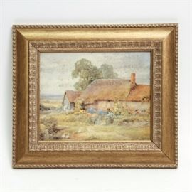"""Offset Lithograph After Henry Stannard """"Midsummer"""": An offset lithograph on textured paper titled Midsummer after a painting by artist Henry Stannard. This print depicts a rural scene with thatched-roof houses and a lush field. There is no visible artist's signature. It is presented in a gold tone wooden frame with running bead ornamentation and hanging hardware to the verso."""