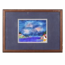 "Enamel Painting on Panel of Night Town Scene: An enamel painting on panel. This piece depicts a riverside town painted underneath a starry night sky. It is signed what appears to read ""Carole Jasper"" on the back of the frame and is presented framed under glass with matting and a wire hanger in verso."