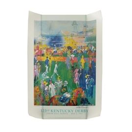 "LeRoy Neiman Reproduction Print After ""Derby Day Paddock"": A signed reproduction print on paper titled Derby Day Paddock after an original work by well-listed artist LeRoy Neiman. The print is rendered in bright hues and depicts a colorful Kentucky Derby scene with horses and racegoers. It is signed in-plate and by hand in black ink to the lower right corner. It is inscribed in typeset to the lower margins. This print is presented unframed, awaiting your choice of presentation."