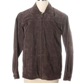 Boston Harbour Suede Jacket: A suede jacket by Boston Harbour, presented in brown with a classic collar, long sleeves and a zip closure. It is marked with an interior brand label.