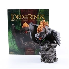 LOTR Balrog Statue: A collectible statue from Sideshow Weta Collectibles. This piece is composed of resin and is in the form of the Balrog based on it's appearance in the 2001 film The Lord of the Rings: The Fellowship of the Ring. The statue comes with the original packaging.