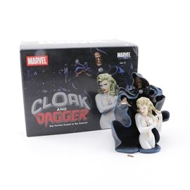 Marvel Universe Cloak And Dagger Busts: A set of two busts from Marvel Comics. The busts depict Marvel Comic's characters, Cloak and Dagger. They were sculpted by Sam Greenwell and include their original packaging.