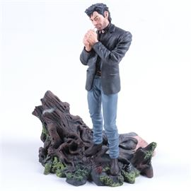 Limited Edition Preacher Porcelain Statue: A 1997 limited edition Preacher porcelain statue. This statue was sculpted by William Paquet and depicts the character Jesse Custer standing above a female zombie lighting a cigarette. It is numbered 2237/2350 and comes with the original box.