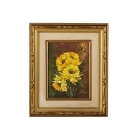 Jo Anne Oil Painting of Still Life: A signed oil painting on canvas of a still life by JoAnne. Signed by hand to the lower right and featuring impasto details in the foliage, the painting depicts four blooming yellow flowers surrounded by foliage. The painting is presented in a gold tone wood frame with carved details and a beige liner. Sawtooth hardware is present to the verso for hanging purposes.