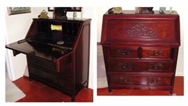 Cherrywood asian desk/secretary (open & closed)