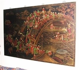 Large asian wall 4-panel painting