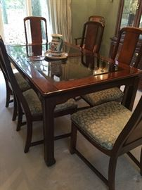 Basset Asian Style Dining Table, 8 chairs
