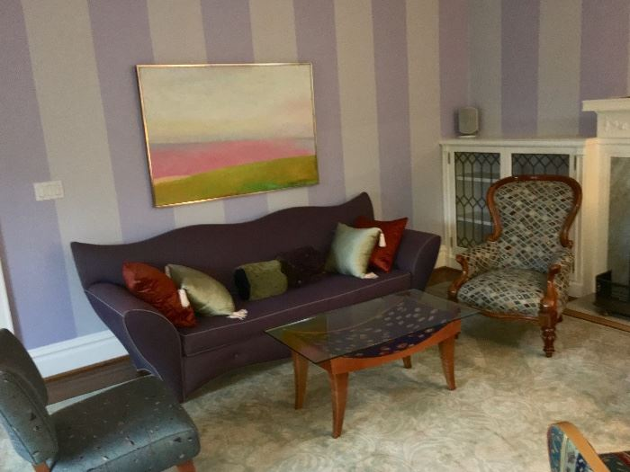 Purple sofa, table & chairs--PAINTING NOT FOR SALE