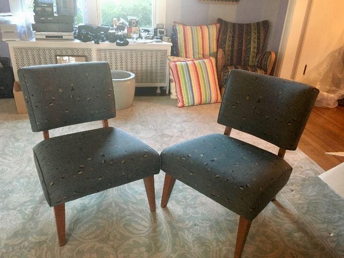Pair, custom upholstered