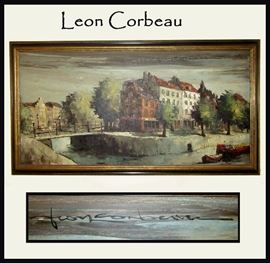Leon Corbeau Signed Oil Painting