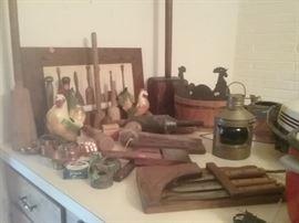 Antique wooden potato masters & mallets