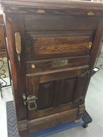 Antique Oak Ice Box with Ice pick by Snowflake