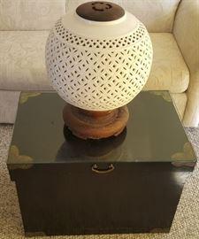 HPT002 Unique Ceramic Lamp, Vintage Tansu Chest, Mystery Items