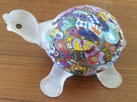 HPT008 Vintage Murano Art Glass Millefiori Turtle Sculpture