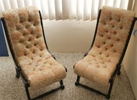 HPT081 Pair of Vintage Mid-Century Japanese Obi Silk Chairs
