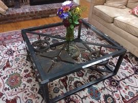 Unique industrial glass-top coffee table