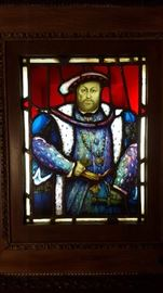EARLY STAINED GLASS WINDOW - KING HENRY VIII