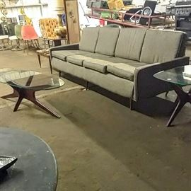Milo Baughman for Thayer Coggin sofa with Adrian Pearsall Jacks coffee table and side table.