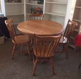 "Oak 42"" Pedestal Table w/ 4 Side Chairs"