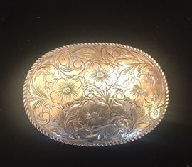 San Carlos vintage flowers belt buckle with 22k Gold on Sterling. Santa Ana CA BR Westerns.