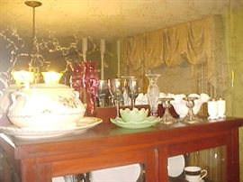 Soup Tureen, Milk Glass, Silver plate, Jadeite & Vases