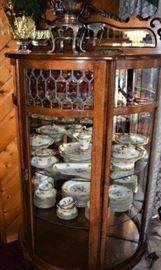 Antique Oak Serpentine HalfRound China Cabinet, Circa 1890s with Key