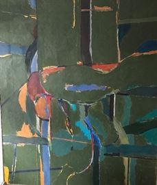 "Arthur Osver, ""Ariel View"", oil on canvas, 69 x 59 in., circa 1970"