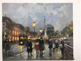 Morgan, Paris at Dusk, Painting, oil on canvas, 8 x 10 in.