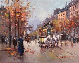 Morgan, Paris Boulevard  Painting, oil on canvas, 8 x 10 in.