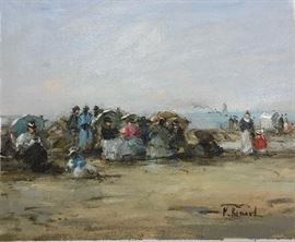 Signed Painting, Beach, oil on canvas, 8 x 10 in.