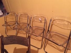 Vintage Lucite folding chairs