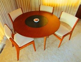 Mid Century Teak table w/ 4 chairs, Danish imports acquired during 1960 s at the long departed Indialantic Danish Import store--near mint condition--