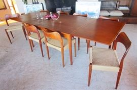 8.7 ft of Solid Teak Table-All 8 Chairs in Perfect Condition